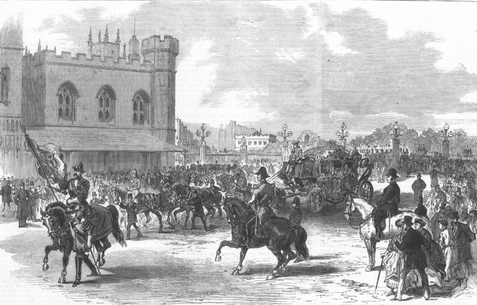 Associate Product LONDON. Lord Mayors Day. parade at new Palace Yd, antique print, 1868