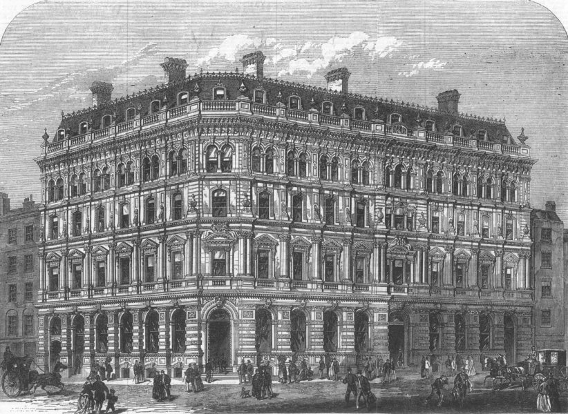 Associate Product LONDON. New Buildings of city offices Co, Lombard St, antique print, 1868