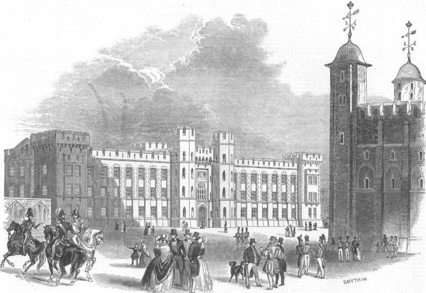 Associate Product LONDON. Tower of London. Waterloo Barracks, antique print, 1845