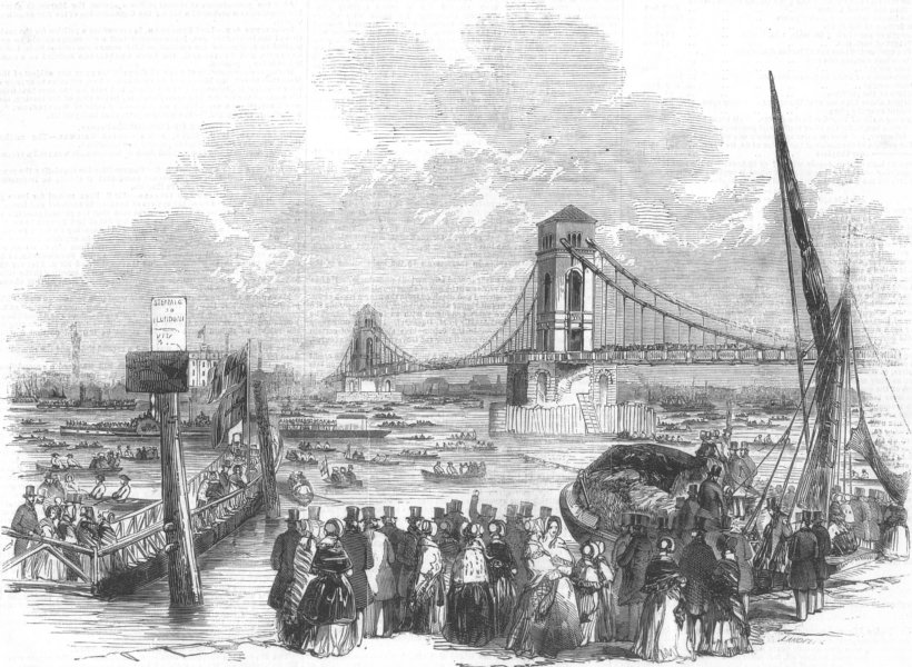 Associate Product LONDON. Opening of Hungerford Suspension Bridge, antique print, 1845