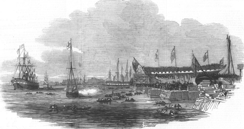 Associate Product LONDON. Launch of the Alfred Indiaman, at Blackwall, antique print, 1845