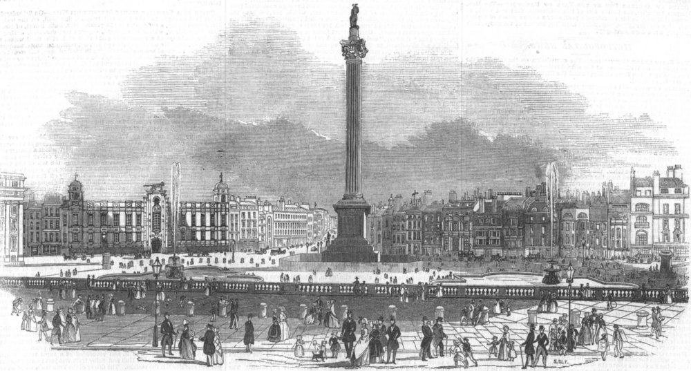 LONDON. Trafalgar-Square, antique print, 1845