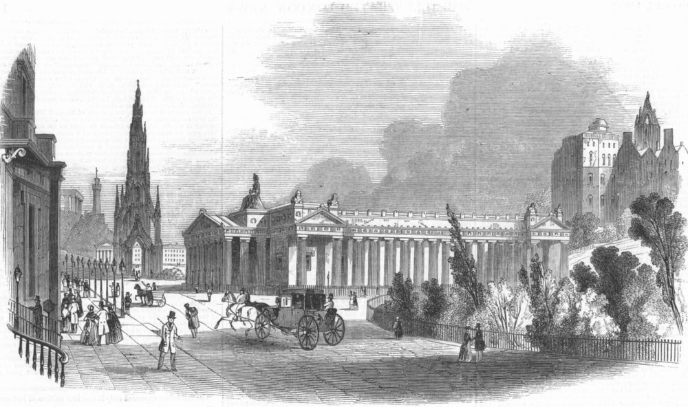 Associate Product SCOTLAND. Edinburgh-Royal Inst, & Scott Monument, antique print, 1845