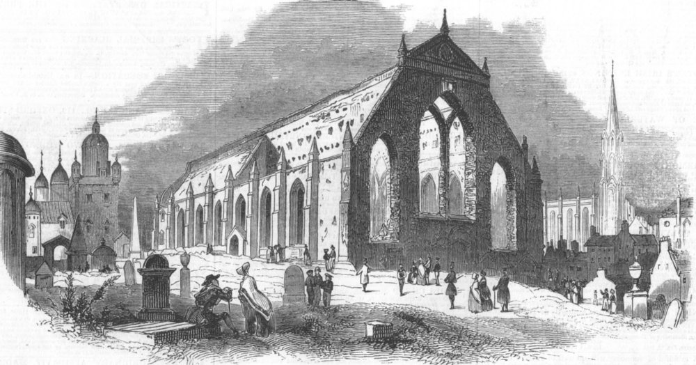 Associate Product SCOTLAND. Ruins of Greyfriars Church, Edinburgh, antique print, 1845