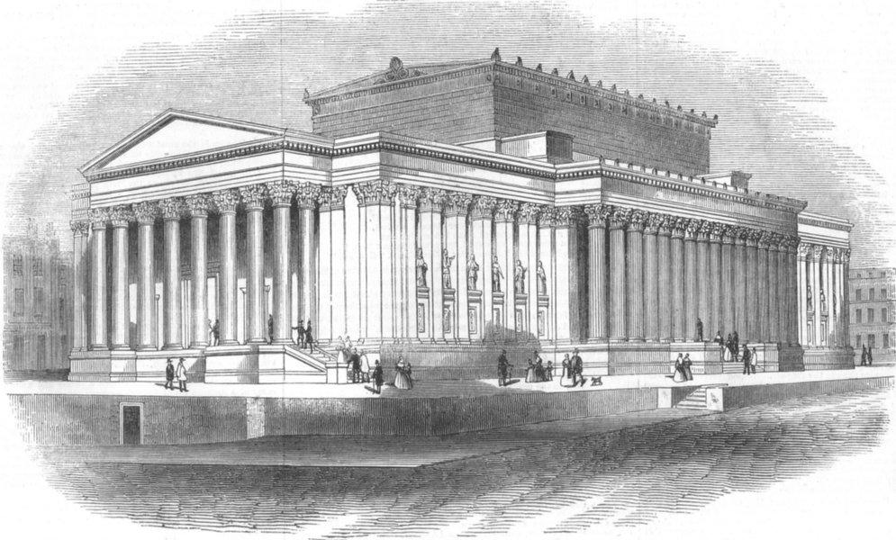 Associate Product LANCS. St George's Hall, Liverpool, antique print, 1845