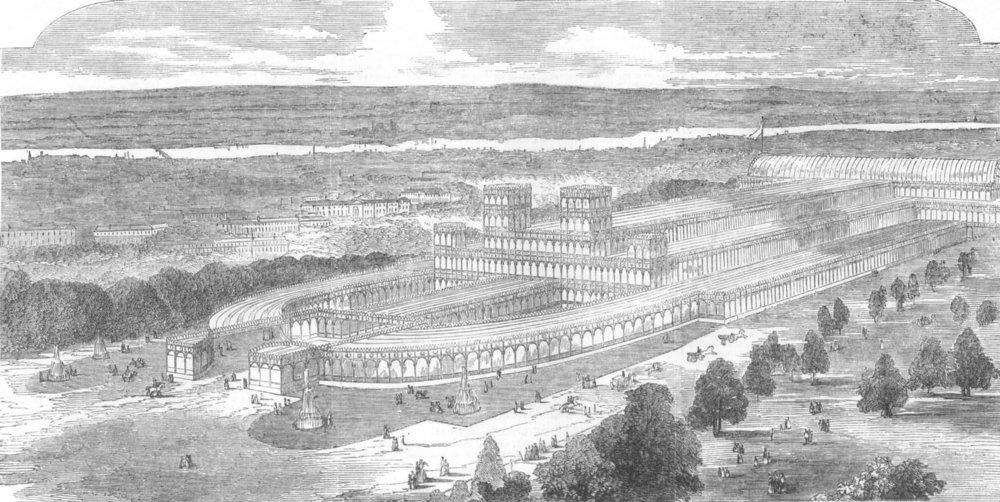 Associate Product LONDON. Crystal Palace, Hyde Park-Proposed entrances, antique print, 1852
