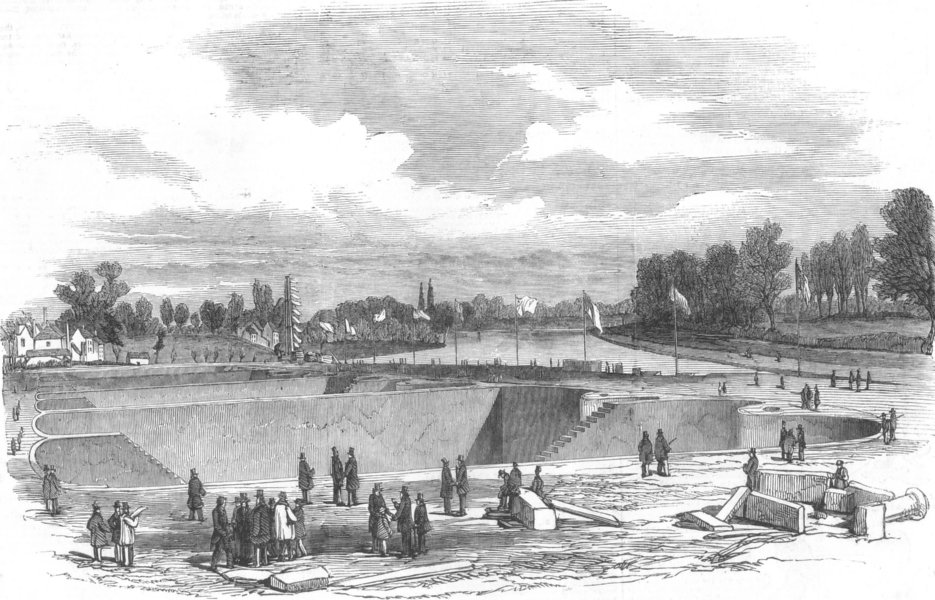 Associate Product LONDON. filtering basins of Lambeth Water Co, Ditton, antique print, 1852