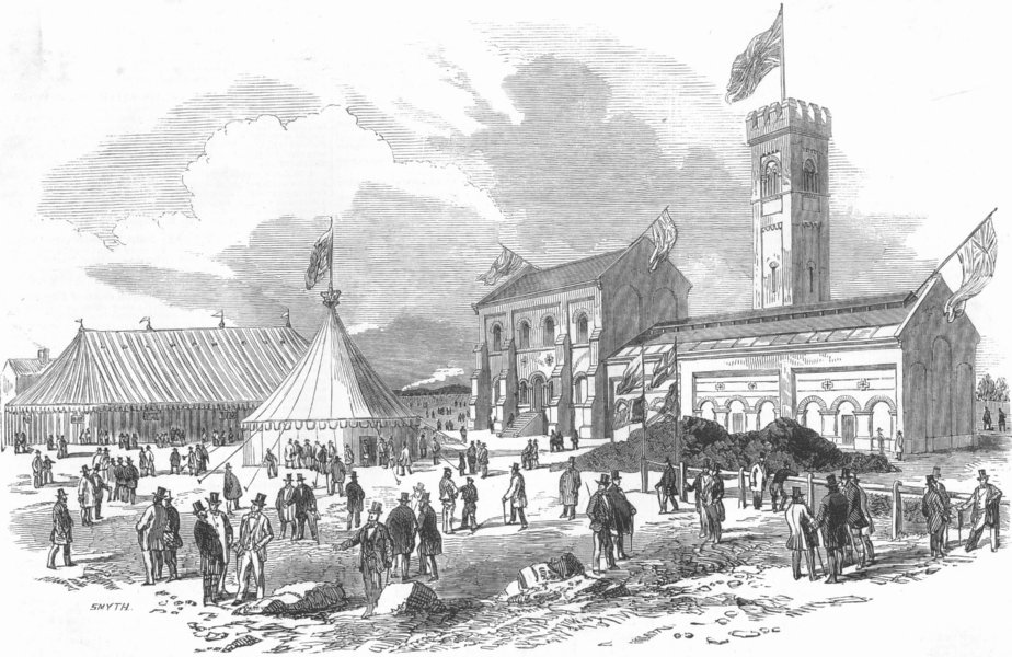 Associate Product LONDON. Lambeth Water works, Seething Wells, Ditton, antique print, 1852