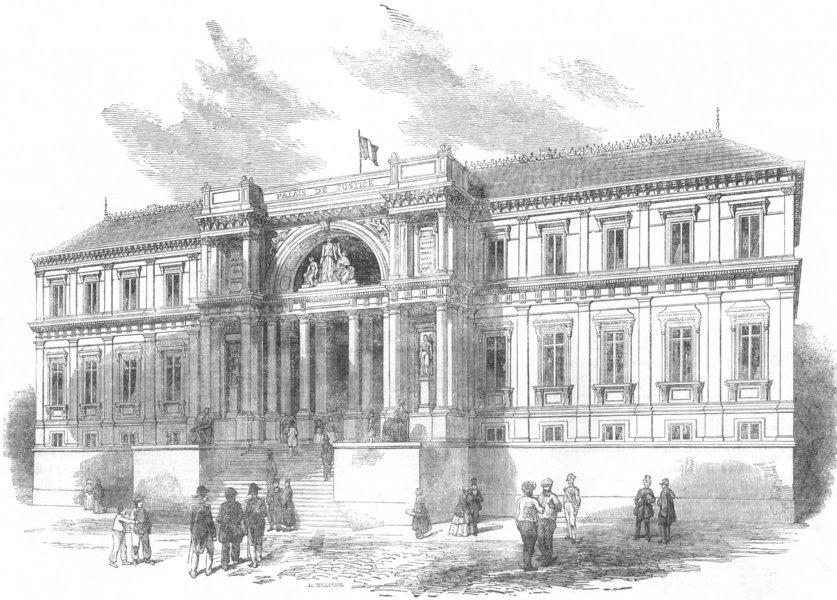 Associate Product FRANCE. The new Palais De Justice at Nantes, antique print, 1852