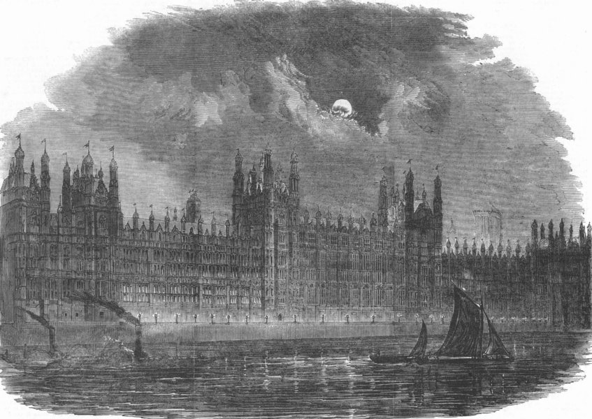 Associate Product LONDON. The new Houses of Parliament-river front, antique print, 1852