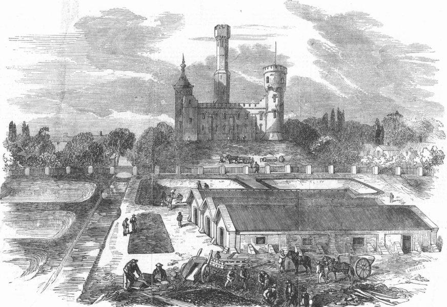 Associate Product LONDON. Stoke Newington. Engine House & Reservoir, antique print, 1856