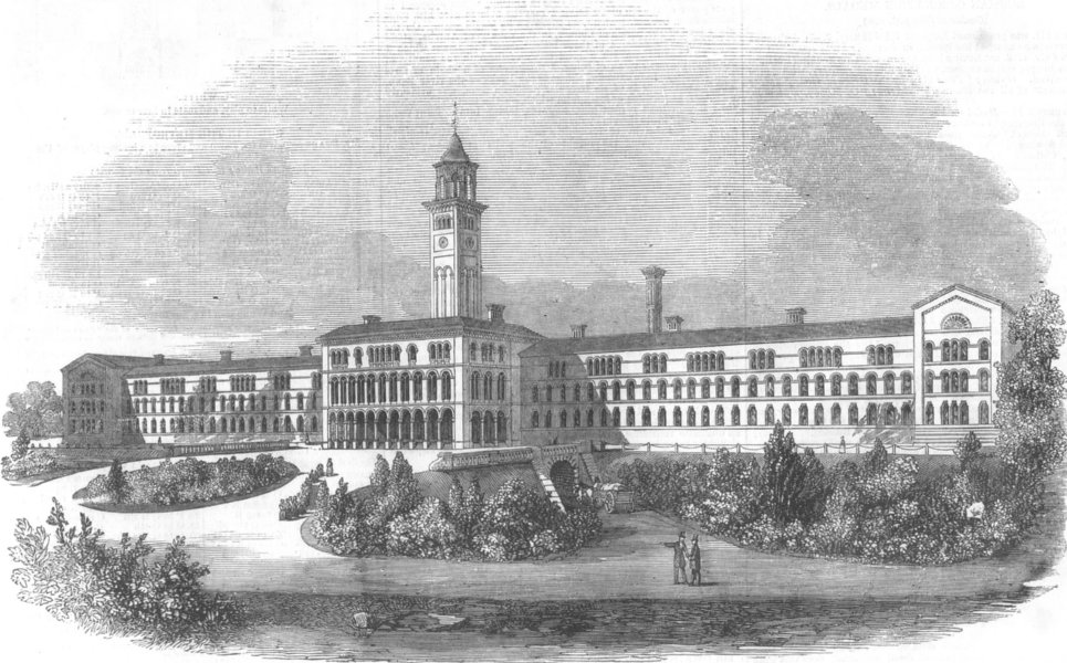 Associate Product LONDON. Central London District Schools, Hanwell, antique print, 1856