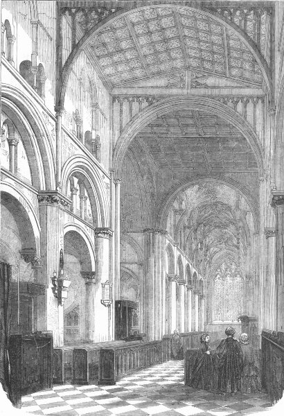 Associate Product OXON. Cathedral of Christ Church, Oxford, restored, antique print, 1856