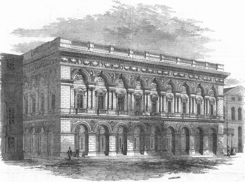 Associate Product LANCS. The new Free-Trade Hall, Manchester, antique print, 1856