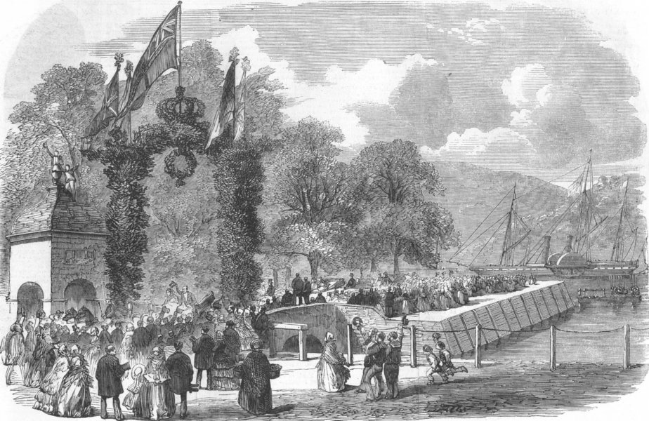 Associate Product DEVON. Royal Cruise-visit of Queen to Dartmouth, antique print, 1856