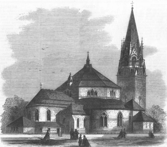 Associate Product LONDON. St George's Church, Tufnell Park, Holloway, antique print, 1868