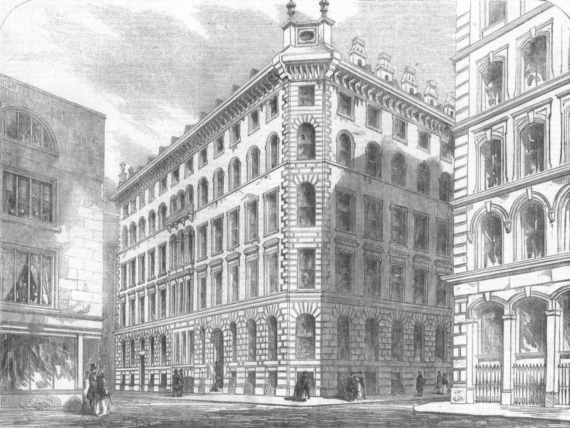Associate Product LONDON. London St Architecture-Cannon St West, antique print, 1856