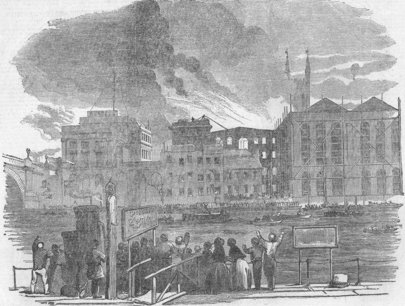 Associate Product LONDON. fire at Hibernia-Wharf-Southwark, antique print, 1851