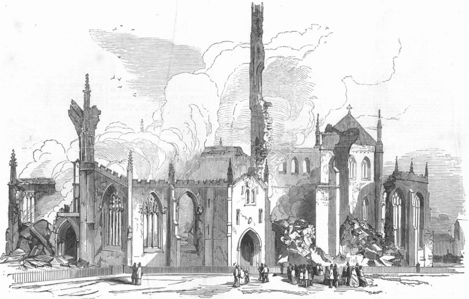 Associate Product YORKS. St George's Church, Doncaster, burnt down, antique print, 1853