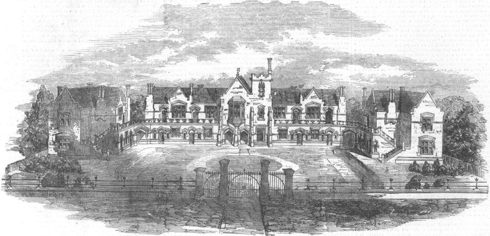 Associate Product LONDON. printers Almshouses, Wood Green, Tottenham, antique print, 1856