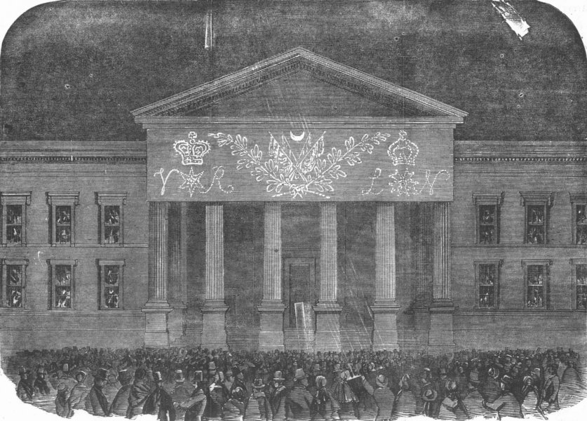 Associate Product SECULAR BUILDINGS. Peace lights-general post-office, antique print, 1856