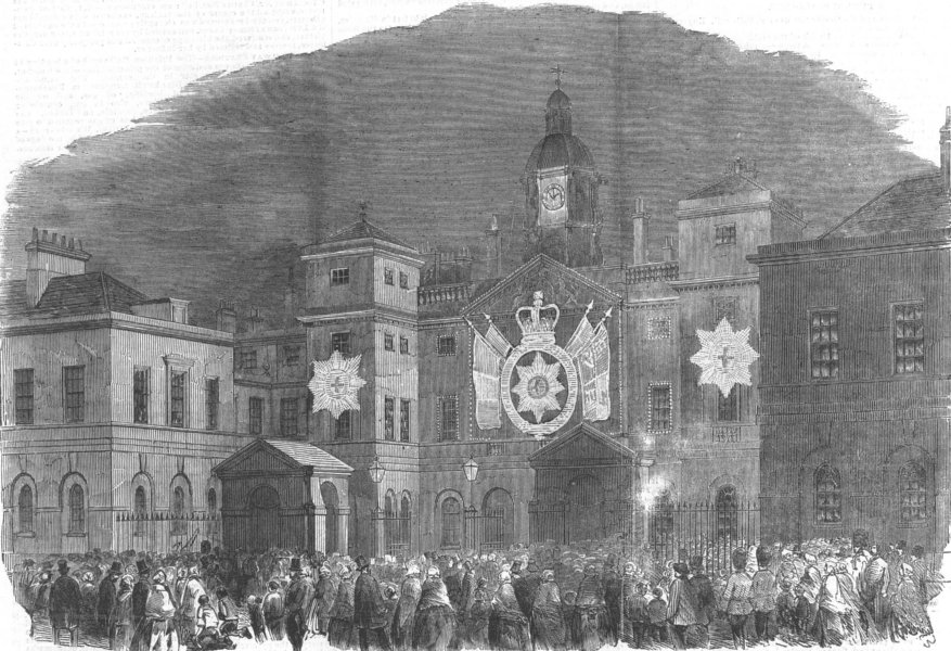 Associate Product LONDON. Peace lights-Horse Guards, Whitehall front, antique print, 1856