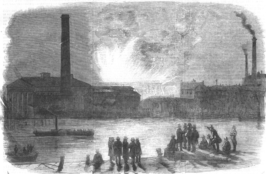 Associate Product LONDON. fire at Vauxhall Station, seen from Millbank, antique print, 1856