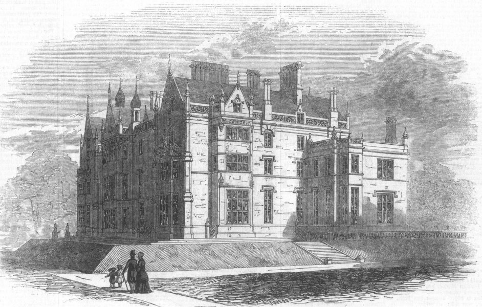 Associate Product LANCASHIRE. Worsley Hall, seat of Lord Francis Egerton, antique print, 1846