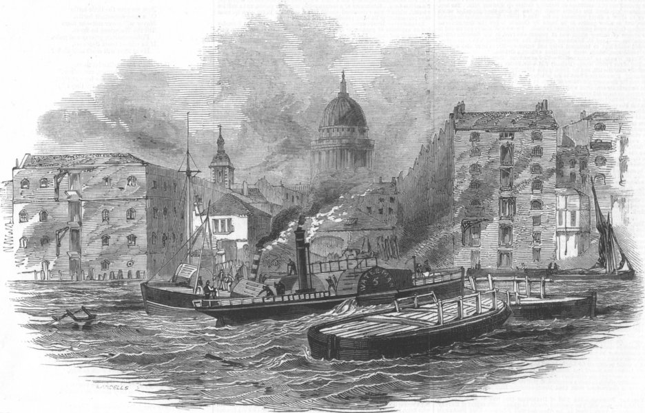 Associate Product LONDON. Thames watermen and authorities dispute, antique print, 1846