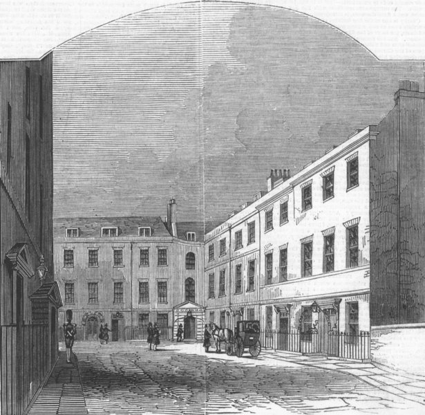 Associate Product LONDON. Government Offices, Downing-Street, antique print, 1846