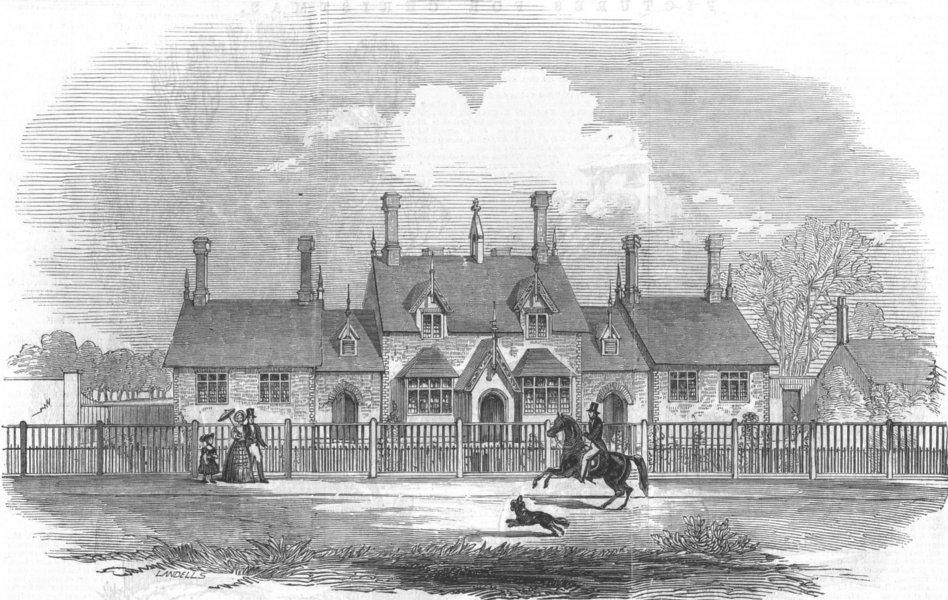 Associate Product BERKS. Her Majesty's Schools, Windsor Great Park, antique print, 1846