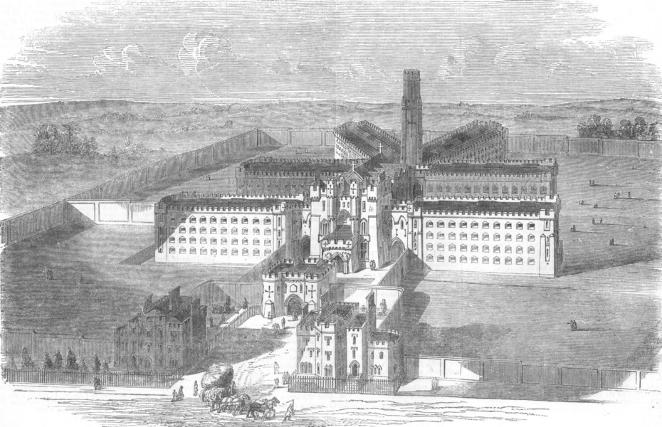 Associate Product LONDON. The new city prison, at Holloway, antique print, 1853