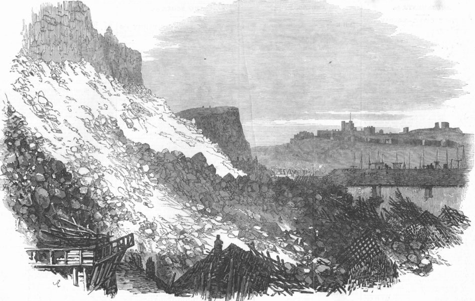 Associate Product KENT. Immense fall of cliff, at Dover, antique print, 1853