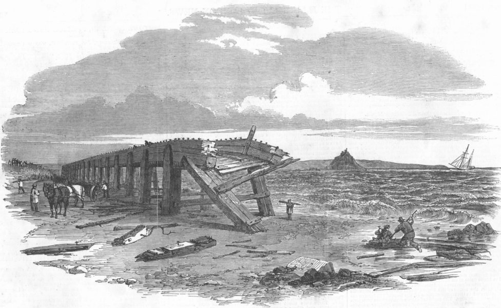 Associate Product CORNWALL. Penzance Railway viaduct, damaged by winds, antique print, 1853