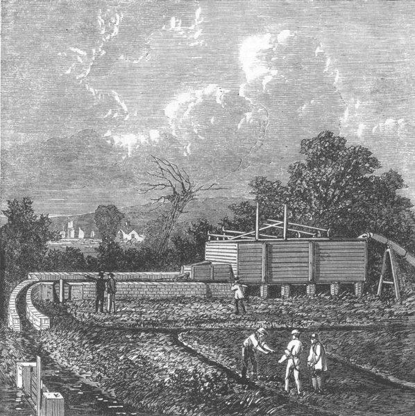 Associate Product LONDON. Tank at the Sewage farm, near Barking, antique print, 1868