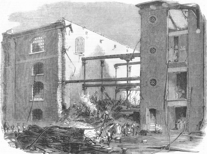 Associate Product LONDON. Ruins of the late fire at the London Docks, antique print, 1858