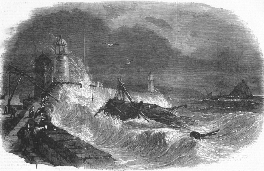 Associate Product CORNWALL. Wreck of the Diana, off Penzance, antique print, 1855