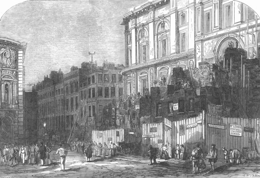 Associate Product LONDON. old & new buildings, Threadneedle St, antique print, 1855