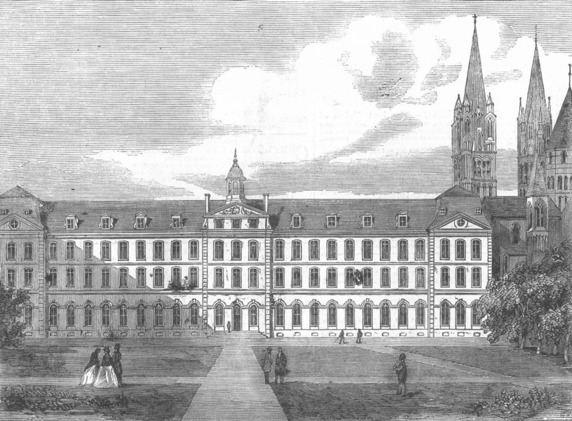 Associate Product FRANCE. Caen College, antique print, 1858