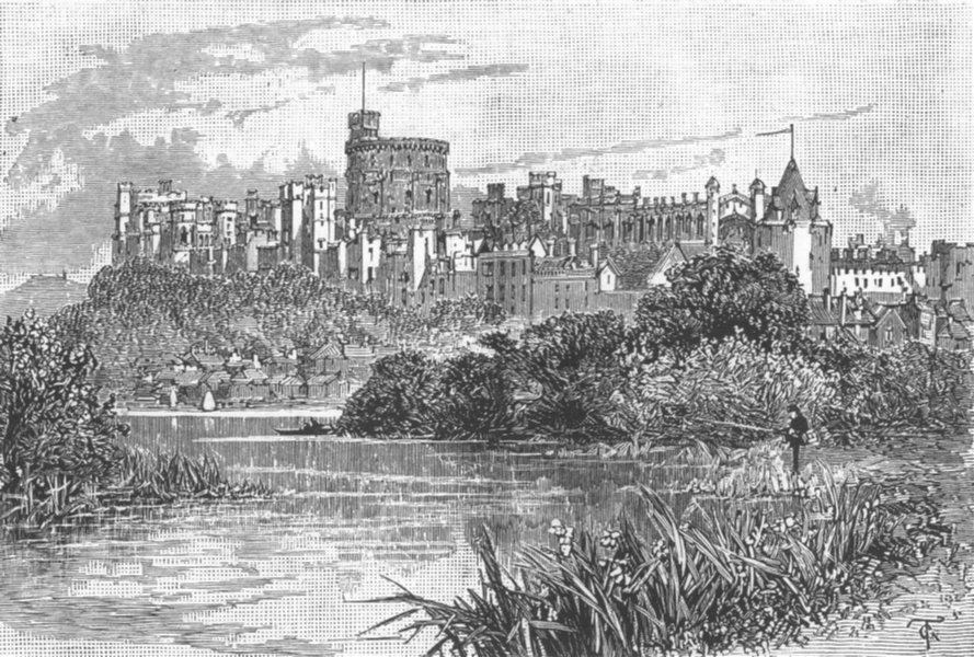 Associate Product Windsor Castle, Berkshire, antique print, 1885