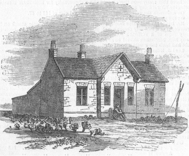 Associate Product GLOS. Cottage at Snig's-end-front, antique print, 1850