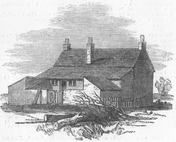 Associate Product GLOS. Cottage at Snig's-end-back, antique print, 1850