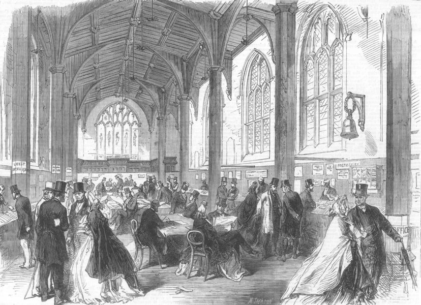 Associate Product YORKS. Social Science Congress, Guildhall, York, antique print, 1864
