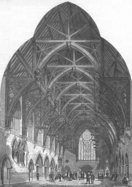 Associate Product LANCS. New Assize Courts, Manchester, entrance, antique print, 1864