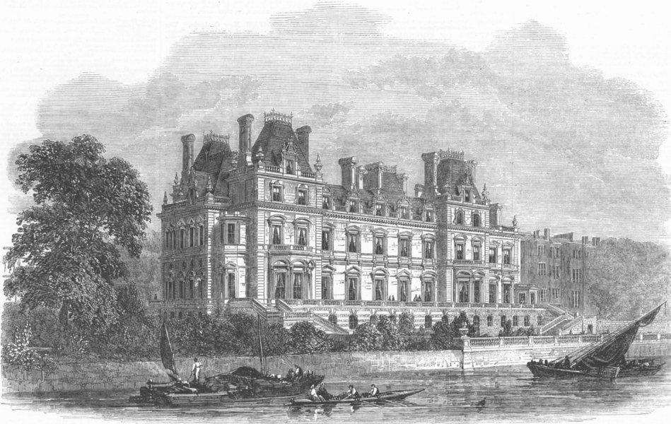 Associate Product LONDON. Montagu-House, Whitehall(Duke of Buccleuch), antique print, 1864
