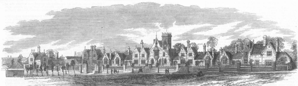 Associate Product HERTS. Watford almshouses built by Salters Co, antique print, 1864