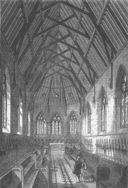 Associate Product KENT. Bromley College, Kent. The Chapel, antique print, 1864