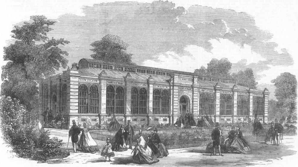 Associate Product LONDON. London Zoo. new Monkey House, Regents Park, antique print, 1864