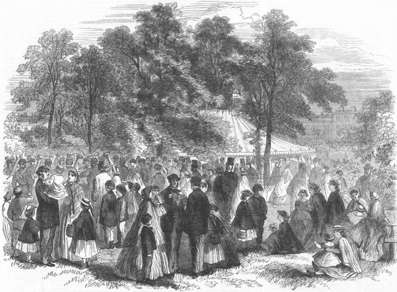 Associate Product LONDON. Bloomsbury flower show, Russell Sq inclosure, antique print, 1864