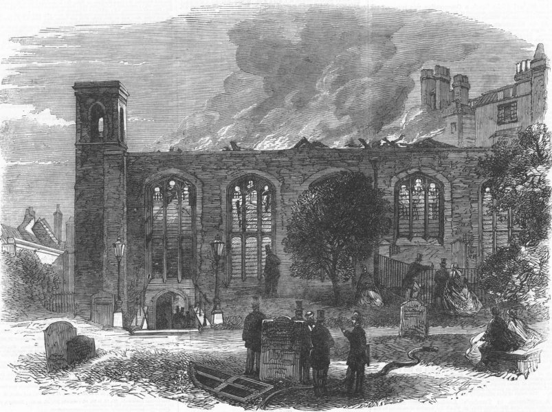 Associate Product LONDON. Ruins of the Chapel Royal in the Savoy, antique print, 1864